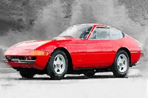 1968 Ferrari 365 GTB4 Daytona Watercolor by NaxArt