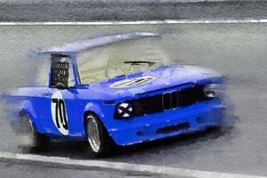 1969 BMW 2002 Racing Watercolor by NaxArt