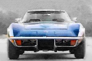 1972 Corvette Front End Watercolor by NaxArt