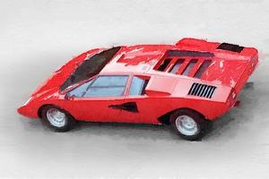 1974 Lamborghini Countach Watercolor by NaxArt