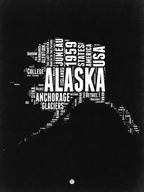 Alaska Black and White Map by NaxArt