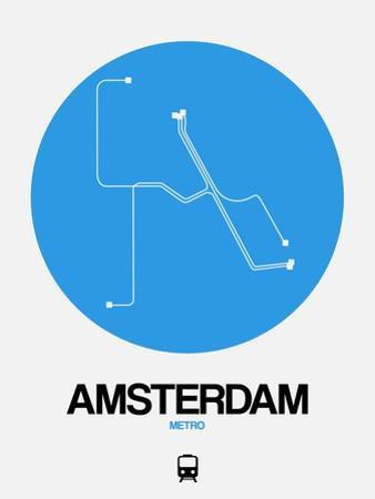 Amsterdam Blue Subway Map by NaxArt