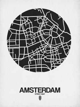 Amsterdam Street Map Black and White by NaxArt