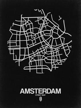 Amsterdam Street Map Black by NaxArt