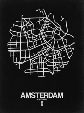 Amsterdam Street Map Black by NaxArt