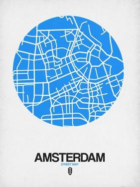 Amsterdam Street Map Blue by NaxArt