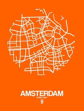Amsterdam Street Map Orange by NaxArt