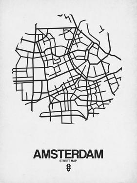Amsterdam Street Map White by NaxArt