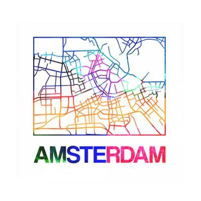 Amsterdam Watercolor Street Map by NaxArt