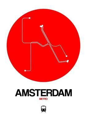 Amsterdam White Subway Map by NaxArt