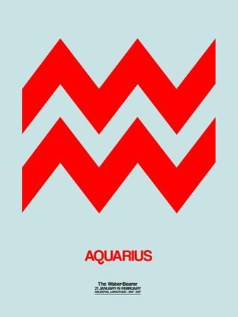 Aquarius Zodiac Sign Red by NaxArt