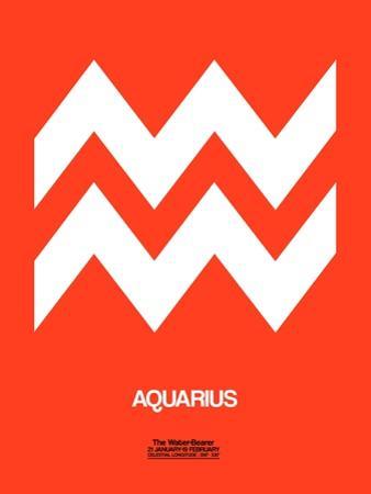 Aquarius Zodiac Sign White on Orange by NaxArt