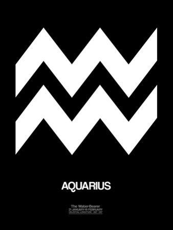 Aquarius Zodiac Sign White by NaxArt