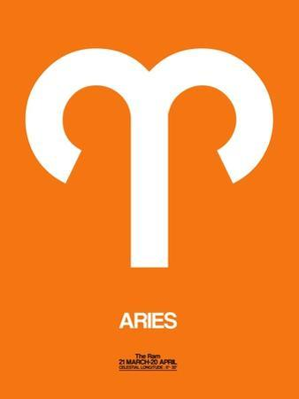 Aries Zodiac Sign White on Orange by NaxArt