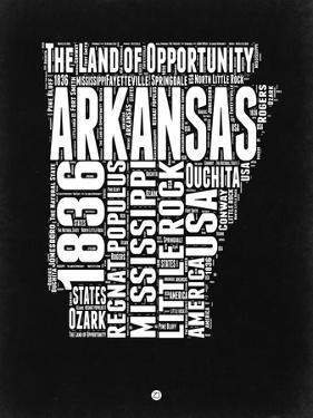 Arkansas Black and White Map by NaxArt