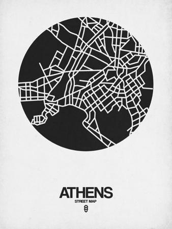 Athens Street Map Black on White by NaxArt