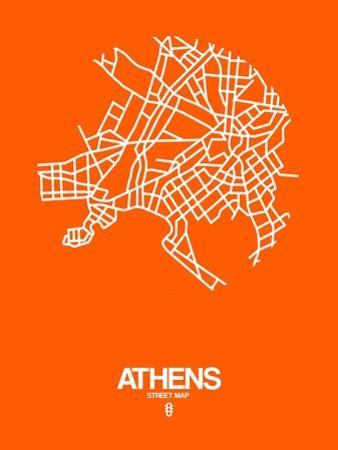 Athens Street Map Orange by NaxArt