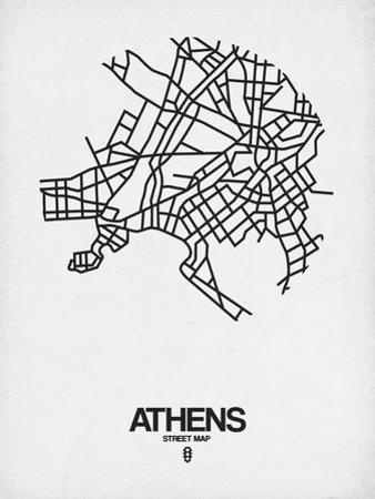 Athens Street Map White by NaxArt