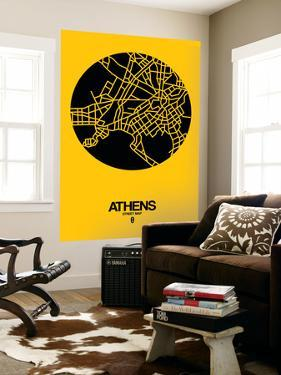 Athens Street Map Yellow by NaxArt