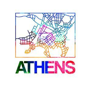 Athens Watercolor Street Map by NaxArt