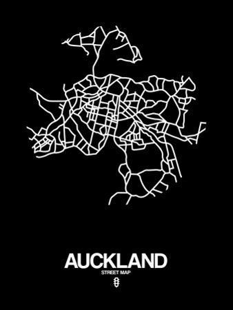 Auckland Street Map Black by NaxArt