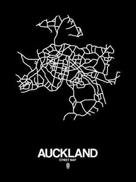 Auckland Street Map Black by NaxArt