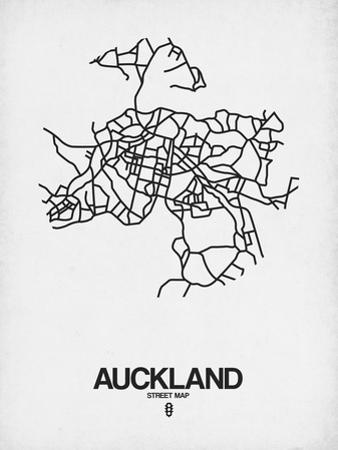 Auckland Street Map White by NaxArt