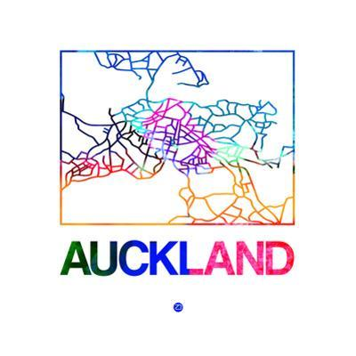 Auckland Watercolor Street Map by NaxArt