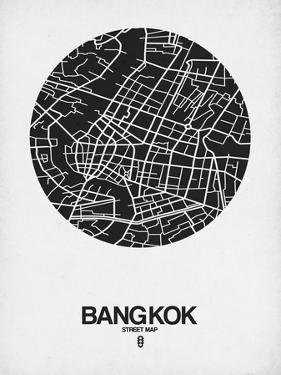 Bangkok Street Map Black on White by NaxArt