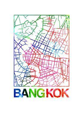 Bangkok Watercolor Street Map by NaxArt
