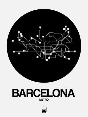 Barcelona Black Subway Map by NaxArt