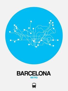 Barcelona Blue Subway Map by NaxArt