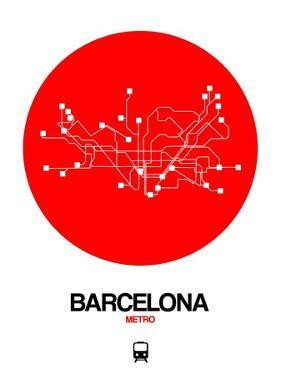Barcelona Red Subway Map by NaxArt