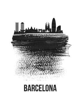 Barcelona Skyline Brush Stroke - Black by NaxArt