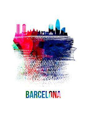 Barcelona Skyline Brush Stroke - Watercolor by NaxArt