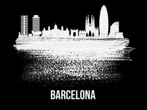 Barcelona Skyline Brush Stroke - White by NaxArt