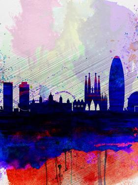 Barcelona Watercolor Skyline 2 by NaxArt