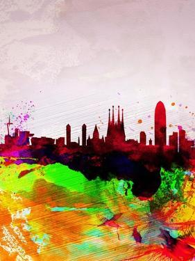 Barcelona Watercolor Skyline by NaxArt