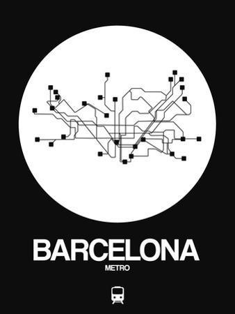 Barcelona White Subway Map by NaxArt