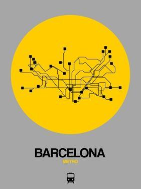 Barcelona Yellow Subway Map by NaxArt