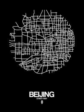Beijing Street Map Black by NaxArt