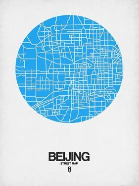 Beijing Street Map Blue by NaxArt