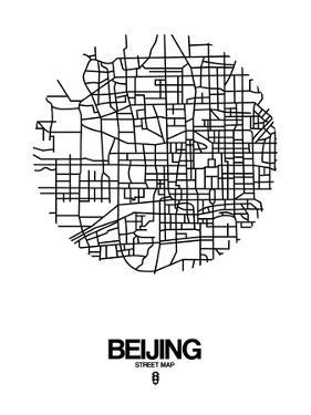 Beijing Street Map White by NaxArt
