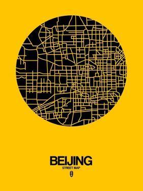 Beijing Street Map Yellow by NaxArt