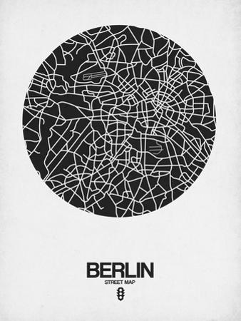 Berlin Street Map Black on White by NaxArt