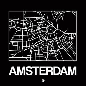 Black Map of Amsterdam by NaxArt