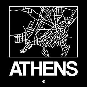 Black Map of Athens by NaxArt