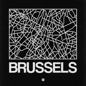 Black Map of Brussels by NaxArt