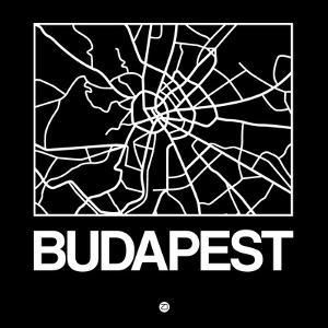 Black Map of Budapest by NaxArt