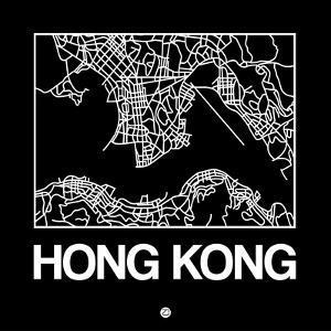 Black Map of Hong Kong by NaxArt